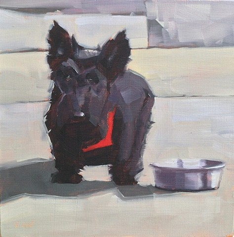 dog, scottie, oil painting, pet portrait, dog art, patti vincent art sold