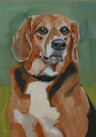 dog art, dog, pet portrait commission, oil painting, green