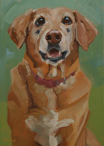 dog art, dog, oil painting, pet portrait commission, green