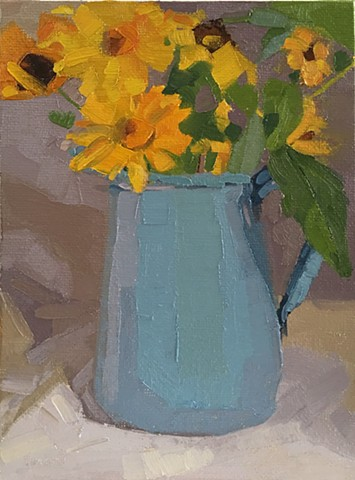 Oil painting, floral painting, flowers, blue, antique pitcher, Patti vincent