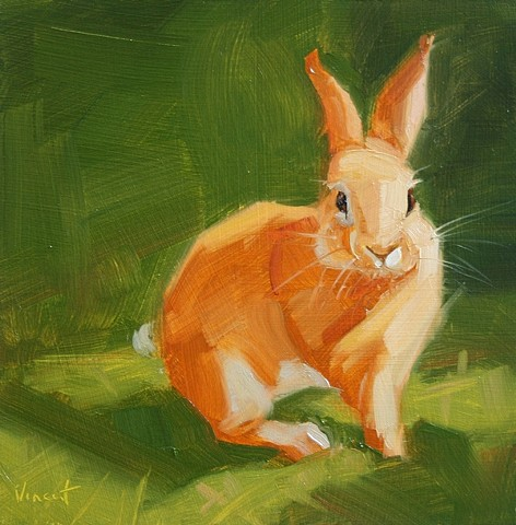 rabbit, bunny, oil painting