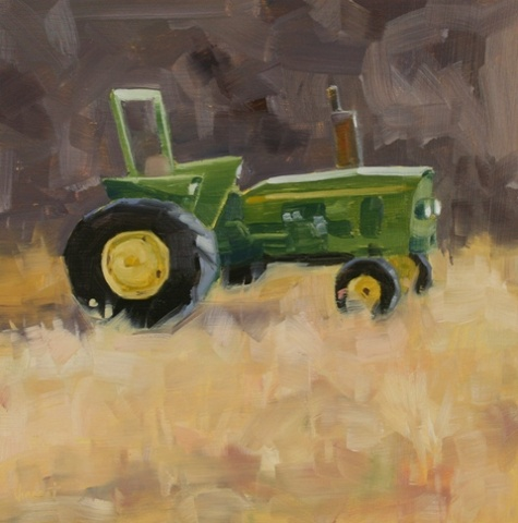 tractor, John Deere, daily painting, oil painting, small painting