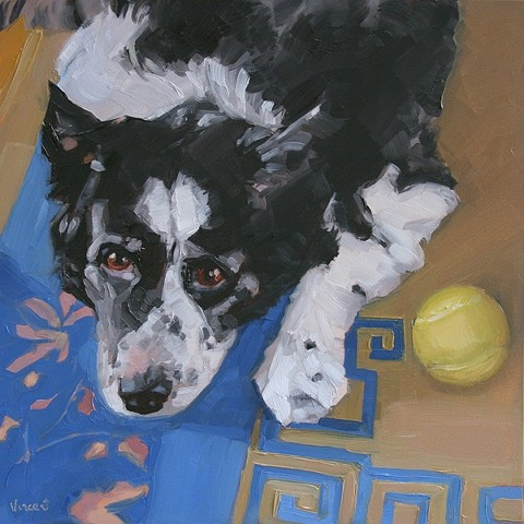 sold, pet portrait commission, dog, dog art, canine, oil painting, tennis ball, oriental rug