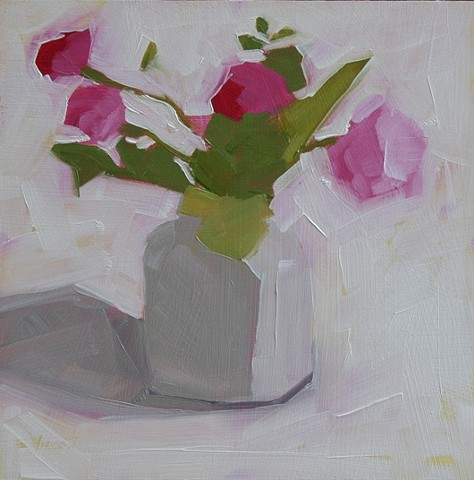 oil painting, patti vincent, flower, vase, pink