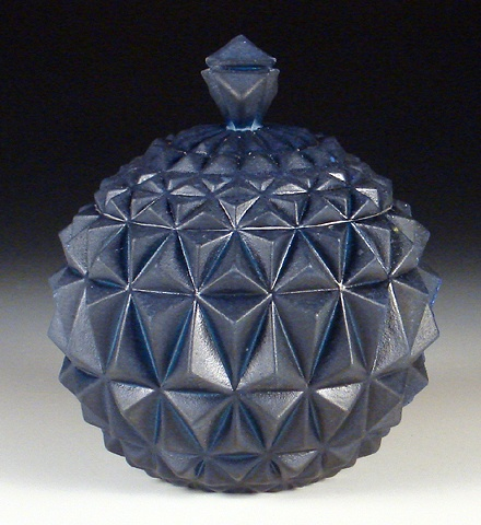 Blue Geometric Jar