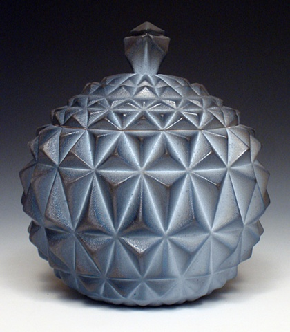 Geometric Slip Cast Jar featuring Blue Flashing Slip