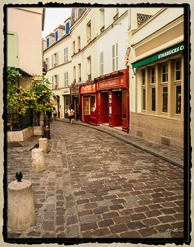Cobblestone Lane in Montmartre Paris