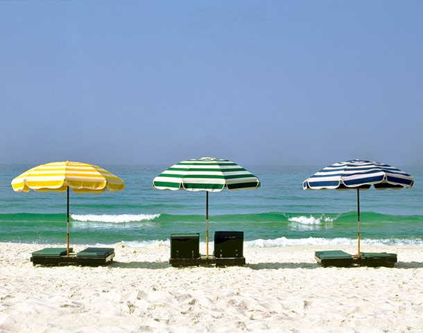 Yellow Green and Blue Umbrellas on the Beach