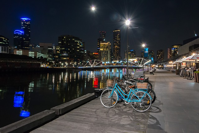 Vibrant Melbourne Waterfront at Night