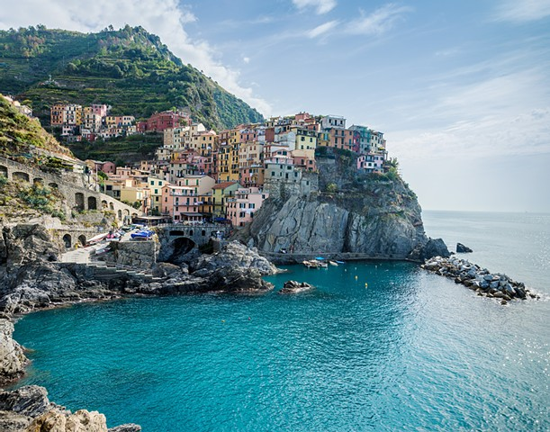 Beatiful view of the town of Manarola
