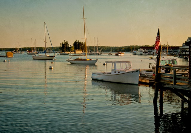 Sunset boats at Boothbay Harbour Maine