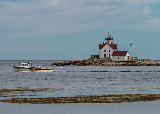 On a clear day, you get a great view of the lighthouse out off the coast