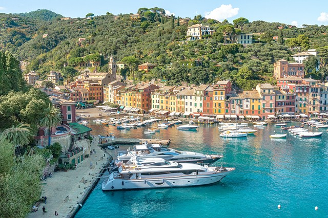 The Portofino Harbour on the west coast of Italy from up the hill