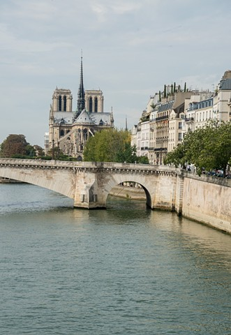 Taken from the bridge to Ile St Louis, the Seine River with Notre Dame Cathedral