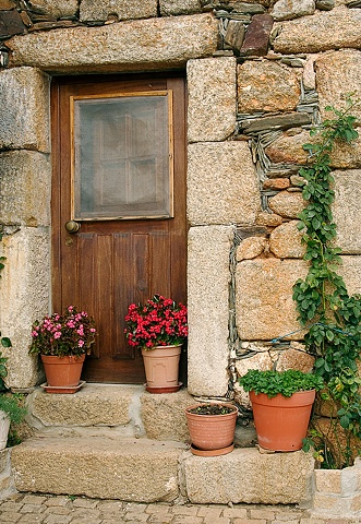 Stone Door and Flowerpots Idanha-a-Velha, Portugal