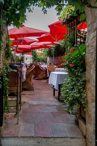 Quiet spot in the restaurant under the red umbrellas