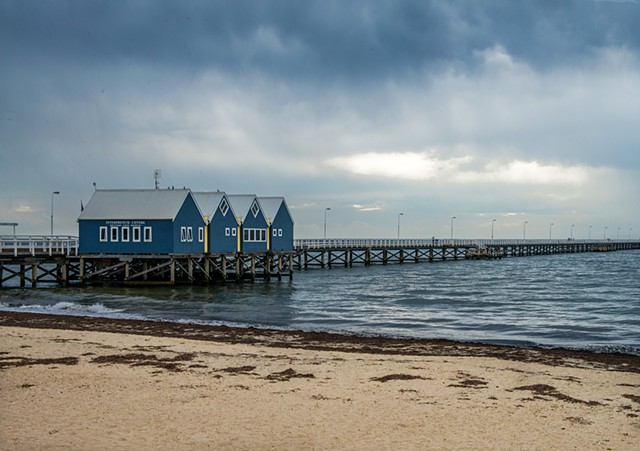 Busselton Jetty under storm skies