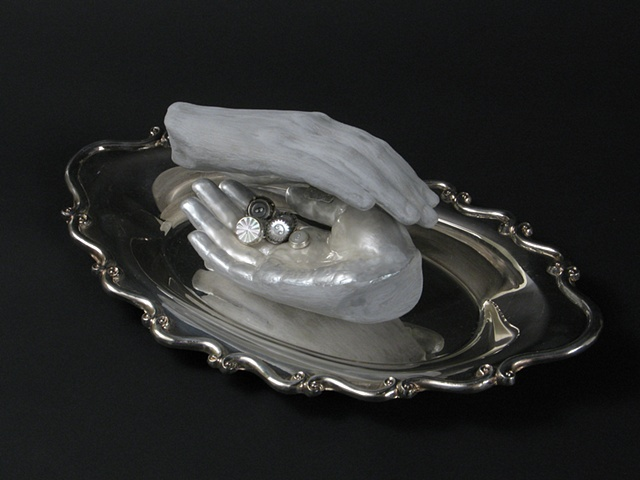 mother of pearl buttons hand silver tray