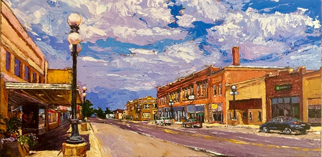 Conrad montana, Main Street Montana, Whoop Up Days, Acrylic painting