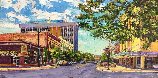 Main Street Montana, Acrylic painting, waterfalls, Lewis and Clark