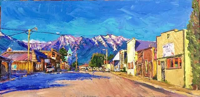 Main Street Montana, St. Ignatius, Montana, Mission Mountains, Acrylic painting, small town, downtown