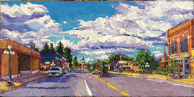 Kalispell Montana, Main Street Montana, Glacier Park, Acrylic Painting