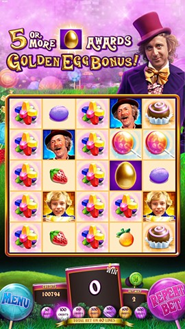 Willy Wonka Pure Imagination slot game Base screen