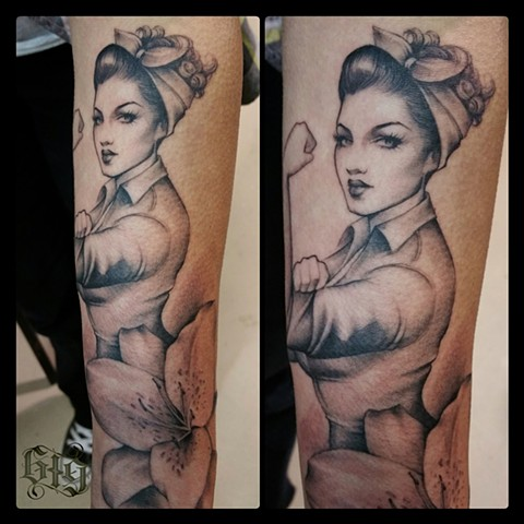 Black and gray Rosie the Riveter inspired, forearm tattoo Southern California. San Diego, North Park, Pacific Beach, Mission Beach, City Heights, Hillcrest, El Cajon, Portland Oregon, Edinburgh Scotland, Ocean Beach