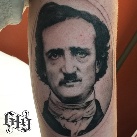 Black and Gray Edgar Allen Poe, Portrait tattoo as part of a Poe inspired half sleeve Southern California. San Diego, North Park, Pacific Beach, Mission Beach, City Heights, Hillcrest, El Cajon, Portland Oregon, Edinburgh Scotland, Ocean Beach
