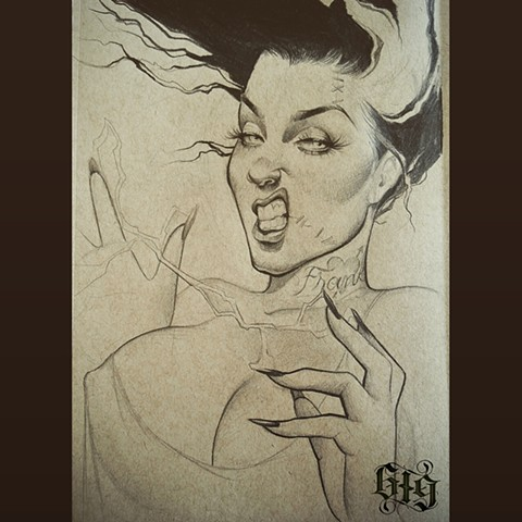 Bride of Frankenstein Pinup sketch Southern California. San Diego, North Park, Pacific Beach, Mission Beach, City Heights, Hillcrest, El Cajon, Portland Oregon, Edinburgh Scotland, Ocean Beach