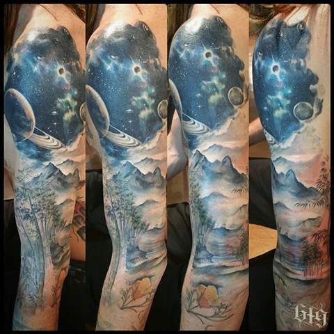 Color beach galaxy planet planetary bamboo forest mountains realistic tattoo half sleeve with California Golden Poppies