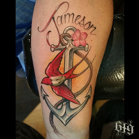 Color Anchor and Sparrow, Nautical Tattoo on the forearm, for Jameson Southern California. San Diego, North Park, Pacific Beach, Mission Beach, City Heights, Hillcrest, El Cajon, Portland Oregon, Edinburgh Scotland, Ocean Beach