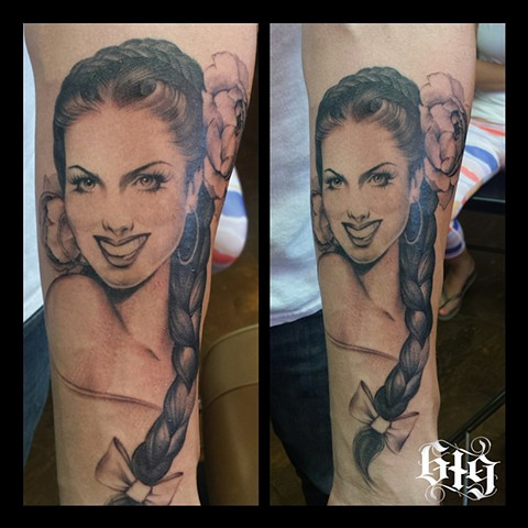 Classic Mexican Pinup inspired black and gray grey tattoo, on the forearm. Beginning of a sleeve. Southern California. San Diego, North Park, Pacific Beach, Mission Beach, City Heights, Hillcrest, El Cajon, Portland Oregon, Edinburgh Scotland, Ocean Beach