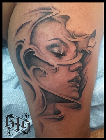 Black and gray grey dragon pinup portrait tattoo Southern California. San Diego, North Park, Pacific Beach, Mission Beach, City Heights, Hillcrest, El Cajon, Portland Oregon, Edinburgh Scotland, Ocean Beach