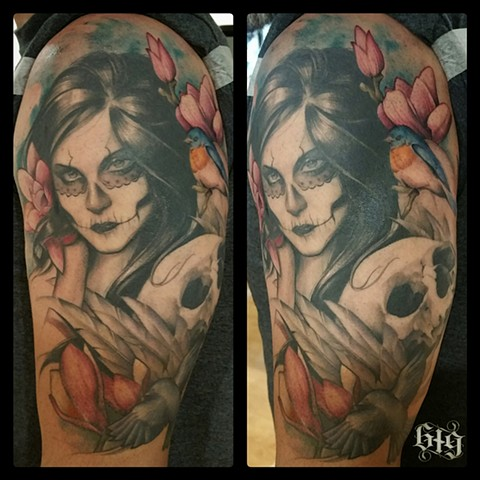 Day of the Dead inspired portrait of wife. Half sleeve with pink magnolias, skull  and blue birds Southern California. San Diego, North Park, Pacific Beach, Mission Beach, City Heights, Hillcrest, El Cajon, Portland Oregon, Edinburgh Scotland, Ocean Beach