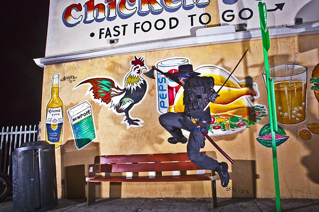 Rooster hunting, Little Haiti, Chicken, bus stop, axe, fast food