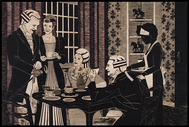 Black ink on carved woodblock by Kristin Powers Nowlin of figures in an interior space based on a Maxwell  House Coffee ad from the 1930s.