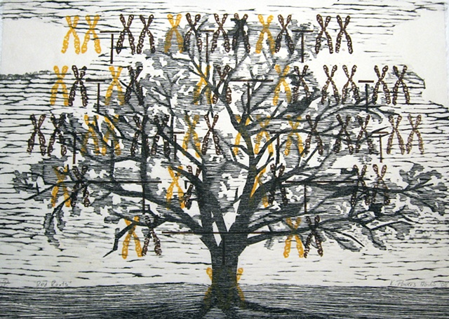Three layers of woodblock prints by Kristin Powers Nowlin of a family tree with chromosomes on it.