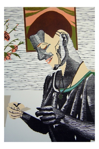 Color woodblock print of a photo of Kristin Powers Nowlin from 1990.