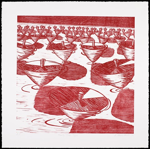 One layer woodblock print by Kristin Powers Nowlin of a family tree of spinning tops in red ink.