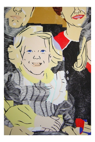 Color woodblock print of a photo of Kristin Powers Nowlin from 1972.