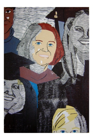 Color woodblock print of a photo of Kristin Powers Nowlin from 2003.