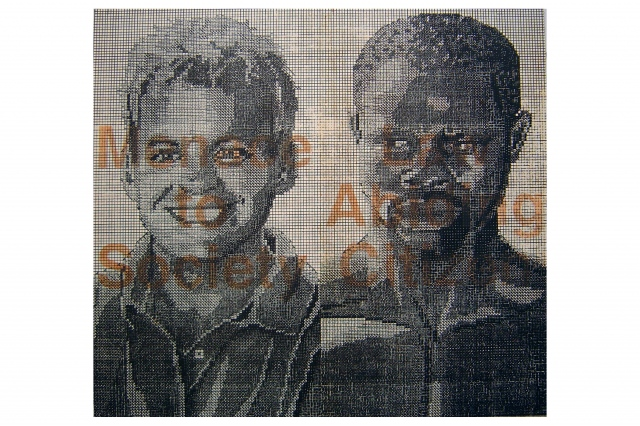 Lithograph on paper of two figures and text about coded language and race.