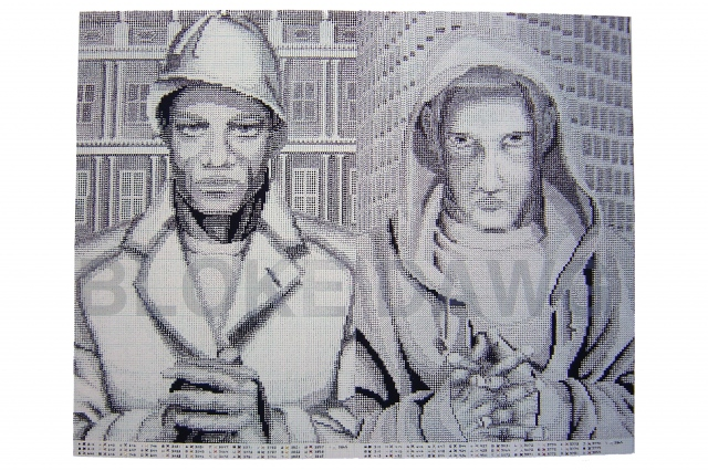 Screen print with cross-stitch on paper of two figures and text about coded language and race.
