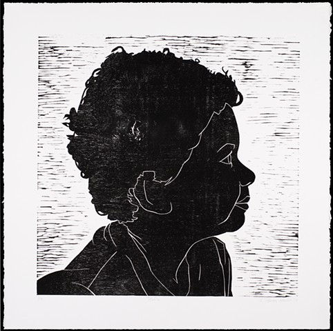One layer woodblock print by Kristin Powers Nowlin of a child's profile.