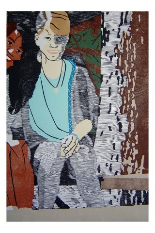 Color woodblock print of a photo of Kristin Powers Nowlin from 1987.