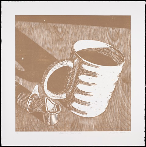 One layer woodblock print by Kristin Powers Nowlin of a coffee mug and creamers on a table.