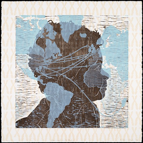 Three layer woodblock print by Kristin Powers Nowlin of a boy's profile, Map, and Chromosomes.