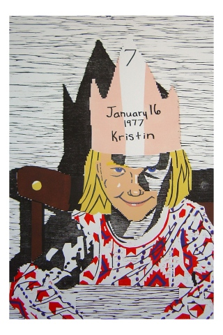 Color woodblock print of a photo of Kristin Powers Nowlin from 1977.