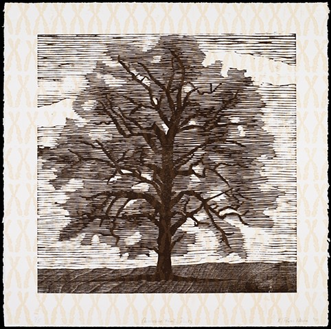 Two layer woodblock print by Kristin Powers Nowlin of an oak tree and chromosomes.